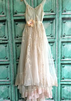 Reserved for Kathy ivory blush & white alencon lace appliqué embroidered chiffon princess wedding dress by mermaid miss k