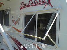 A Fully Adjustable, Removable Camper Awning from PVC! Amazing DIY Tutorial by Wacky Pup Camper Windows, Camper Awnings, Popup Camper, Diy Camper, Roll Out Awning, Diy Awning, Piscina Diy, Trailer Awning, Casita Trailer