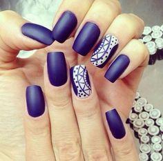 Matte Navy blue nails.