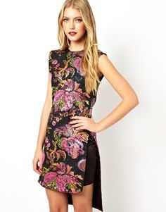 ASOS BLACK Multi Metallic Jacquard Tabbard Dress