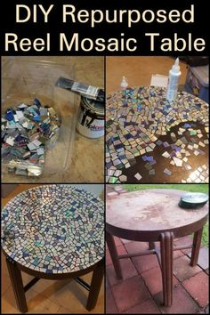 Repurpose! These timber spools end up as landfill. Give one a new life by turning it into a great looking mosaic table!