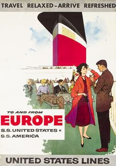 Artist Unknown travel poster: To and from Europe - United States Lines Mid Century Modern