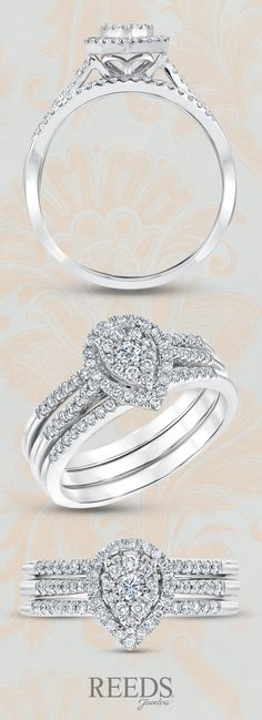 Pear Cluster Diamond Two Band Bridal Set 1/2ctw