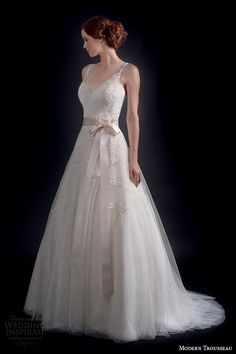 modern trousseau fall 2016 bridal gowns beautiful a  line wedding ball gown dress ribbon belt lace embroidery tulle skirt v neckline with straps style virginia