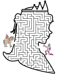 Princess Maze: Help the Princess through the maze to find her knight Colouring Pages, Coloring Pages For Kids, Coloring Sheets, Fairy Tale Crafts, Printable Mazes, Free Printable, Maze Worksheet, Activities For Kids, Crafts For Kids