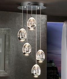 LED Glass Ball Pendant 5 Lights - Chrome or Gold