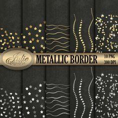Gold and silver metallic borders clipart от JulieDigitalArt