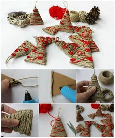 How do trees in twine Tutorial in Italian Christmas Tree Ornaments, Christmas Time, Christmas Wreaths, Christmas Crafts, Christmas Decorations, Holiday, Diy And Crafts Sewing, Crafts For Kids, Diy Crafts