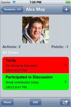 Teacher's Assistant Pro: Track Student Behavior ($6.99) Teacher's Assistant Pro allows teachers to keep track of student actions, behavior, infractions, and achievements in the classroom. Communicate quickly and easily with parents and your administration by documenting student classroom habits and behaviors and sending reports via email or making a call right from your iPhone.: