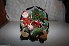 Vintage Santa on Yule Logs Christmas Holiday Decoration