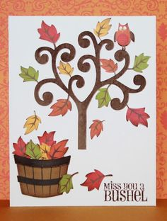 Miss You a Bushel - Silhouette Cameo Silhouette Machine, Silhouette Cameo, Friendship Cards, Thanksgiving Cards, Life Design, Fall Cards, Silhouette Projects, Diy Cards, Homemade Cards