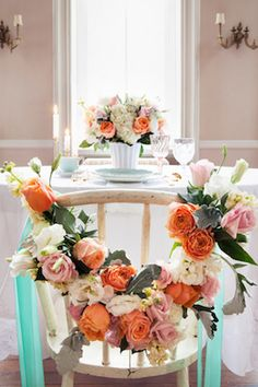 Peach and mint #wedding chair decor | Marietta Leung Photography | see more on: http://burnettsboards.com/2014/03/tabletop-color-stories/