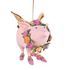 """Patience Brewster """"Rose the Flying Pig"""" Ornament $39.99 - Available at SHOPBLUEHORSE.COM #christmas #pig #FlyingPig #ornament #PatienceBrewster"""