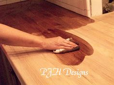 easy butcher block countertop tutorial #diy #butcherblock @Remodelaholic .com .com .com