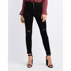 Refuge Hi-Waist Distressed Skinny Jeans ($35) ❤ liked on Polyvore featuring jeans, black, high rise jeans, high waisted jeans, high waisted distressed jeans, high waisted distressed skinny jeans and high rise skinny jeans
