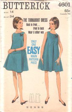Butterick 4601 1960s pierde vestido patrón fácil vuelco tienda vestido Womens Vintage costura patrón talla 14 busto 34 sin cortar