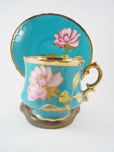 Beautiful Hand Painted Tea Cup and Saucer NUMBERED by MSMUnlimited, $30.00