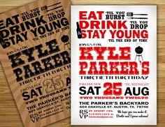 Beer lovers Birthday Party Invitation / invite - 21st 30th 40th 50th Birthday Personalized DIY beer birthday party decorations. $12.00, via Etsy.