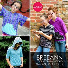 BREEANN Hooded Knit Top PDF Downloadable Pattern by by modkid, $8.99 tween