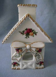 Royal Albert Old Country Roses Cottage Tealight Votive Candle Holder House 2-Pc picclick.com