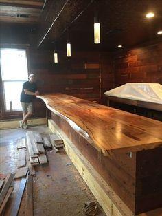 Live Edge Bar Top at The Craftsman Bar in Austin Texas (Diy Wood Work Counter Tops)