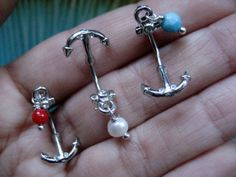www.azeetadesigns.etsy.com 16 Gauge Anchor Eyebrow Rook Barbell 16g G Navel Stud Bar Barbell Ear Earring Jewelry
