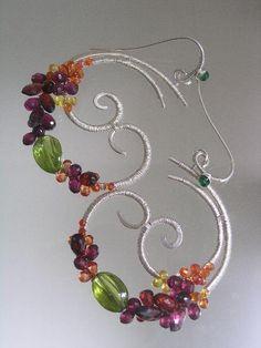 Opulent Gemstone Sterling Sculptural Earrings by bellajewelsII