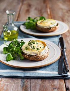 French goats' cheese on mushrooms http://www.sainsburysmagazine.co.uk/recipes/starters/veggie/item/french-goat-s-cheese-on-mushrooms#