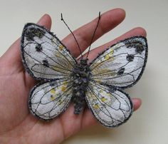 Embroidered butterfly brooch 'Small White' textile by AgnesandCora