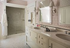 Beautiful girls' bathroom with white and pink geometric wallpaper, Manuel Canovas Trellis Wallpaper, framing white lacquered mirrors over ivory double vanity paired with white marble countertop and subway tile backsplash over marble floor. Girl Bathrooms, Bathroom Kids, Funny Bathroom, Bathroom Stuff, Bathroom Bath, Bathroom Inspo, Dream Bathrooms, Bathroom Inspiration, Small Bathroom