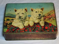 "VINTAGE BURTONS""COMPANIONS""BISCUITS TIN ART DECO C1956 SCOTTISH TERRIER DOGS"