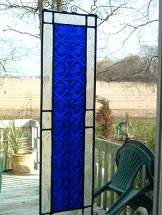 Stained Glass Small Blue Panel Transom Suncatcher Window Panel Geometric on Etsy, Sold