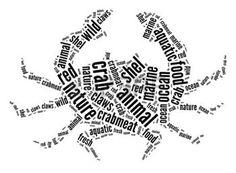 cangrejo caricatura: Cangrejo Info-texto y gráficos disposición concepto palabras nube