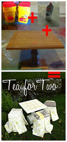 tea table and seats: 2 dollar thrifted table and kitty litter containers