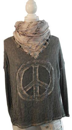 Lindsay Impressionen Longshirt Shirt Pulli grau Häkel batik peace Nieten 38-44
