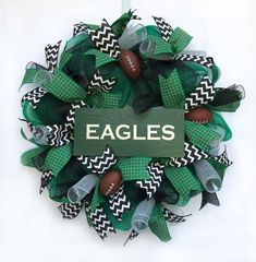 Excited to share this item from my shop: Philadelphia Eagles football wreath. Fall Wreaths, Deco Mesh Wreaths, Christmas Wreaths, Door Wreaths, Christmas Ideas, Football Wreath, Fall Football, Philadelphia Eagles Football, Diy Crafts