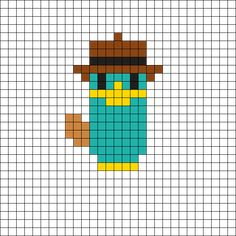 Agent P - Phineas and Ferb Perler Bead Pattern