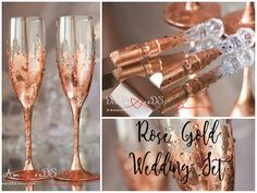 Rose Gold Wedding Toasting Glasses and Cake Server Set Rose Rose Gold is the ultimate contemporary color trend this year for weddings.These styling for chic and elegant celebration! With rich gold tones, pops of pink and plenty of glamorous details, you can easily create for your Big Day! Searching for the perfect rose gold wedding ideas? We made a selection of the best wedding ideas for rose gold party. Find a unique blush wedding dress, wedding decoration, sequined rose gold bridesmaid…