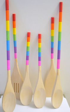 Painted Wooden Kitchen Utensils Rainbow Colors by DreamAndCraft, $35.00