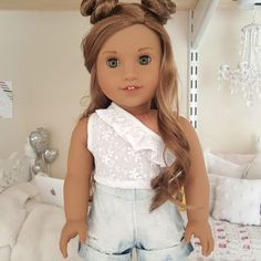 18 inch doll white eyelet top by SewCuteForever on Etsy https://www.etsy.com/listing/452419446/18-inch-doll-white-eyelet-top