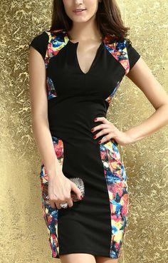 Printed Color Block Dress