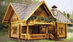 Cabins and Cottages: Small Cottage Garden Design - Tiny Garden Cottage Small Log Cabin, Tiny House Cabin, Log Cabin Homes, House With Porch, Cottage House Plans, Cottage Homes, House In The Woods, Log Cabins, Rest House