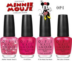 "OPI launches Vintage Minnie Mouse, including four limited edition nail lacquers, for summer. Created in honor of Disney's beloved character, the colors encapsulate Minnie Mouse's irresistible charm in playful, pretty shades of pink and red.     ""OPI is so excited to collaborate with Disney and draw inspiration from one of the world's most popular characters,"" explains Suzi Weiss-Fischmann, OPI Executive VP & Artistic Director.  ""This collection brings together the expertise of OPI and the ico"