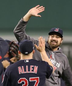 Cleveland Indians second baseman Michael Martinez joins teammates in a joyous celebration after victory in the ALDS playoff Game 3 between the Cleveland Indians and the Boston Red Sox played in Boston on Monday, Oct. (Chuck Crow/The Plain Dealer) Baseball Jerseys, Baseball Players, Baseball Cards, Cleveland Indians Baseball, Cleveland Rocks, Cody Allen, Andrew Miller, Youth Baseball Gloves, Fenway Park