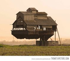 Gravity defying floating house