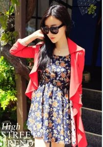 J74752 Japanese Fashion Flowers Printing Chiffon Dress