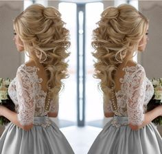 Wedding Hairstyles For Long Hair Modest Half Sleeves Lace Appliques Silver Wedding Dresses Satin 2017 - Item:Lace Embroidery Wedding Dresses With Sleeves Color:Silver/Champagne ;Material:Satin/Lace Tailor to 20 days Shipping Method: DHL,EMS,Fedex,Aramex Wedding Updo, Wedding Makeup, Elegant Wedding, Wedding Bride, Wedding Dresses, Trendy Wedding, Civil Wedding, Wedding Down Dos, Big Wedding Hair