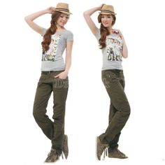 Women's Outdoor Sports Pants Army Green Casual Trousers