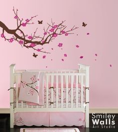 Cherry Blossom Tree with Butterflies - Nursery Vinyl Wall Decal Sticker Nature Design for Nursery Room baby decor flower decal *smileywalls Etsy Nursery Wall Decals, Wall Decal Sticker, Nursery Room, Girl Nursery, Room Baby, Babies Nursery, Baby Rooms, Nursery Bedding, Wall Stickers