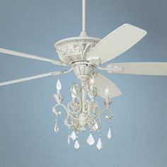"60"" Casa Montego Rubbed White Chandelier Ceiling Fan -"